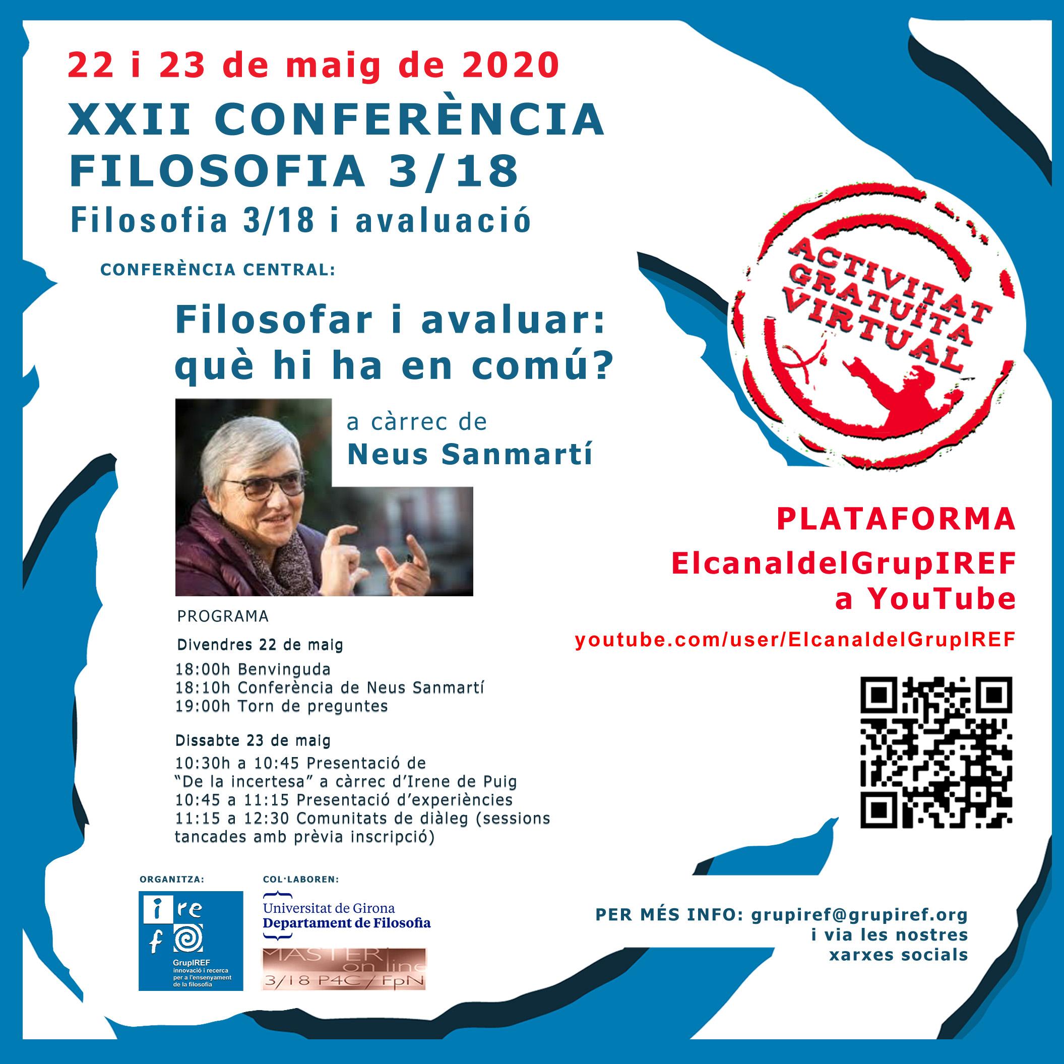XXII CONFERÈNCIA FILOSOFIA 3/18 - ACTIVITATVIRTUAL, OBERTA I GRATUÏTA